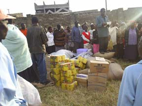 Communities receive food donations from NECOFA in Molo, Kenya