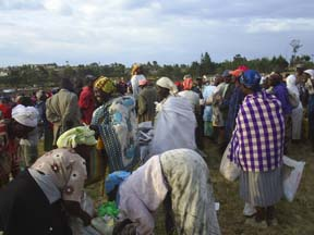 Women in Molo, Kenya share food